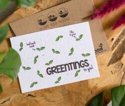 Bloeikaart Greentings met basilicum